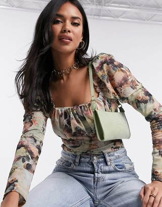 ASOS DESIGN mesh square neck bodysuit in renaissance print