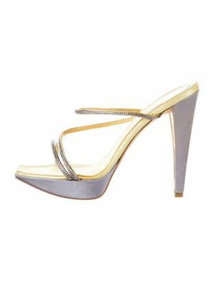 Rene Caovilla Sequin Embellishments Slides Grey