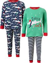 John Lewis Children's Santa Jaws Pyjamas, Pack of 2, Blue/Multi