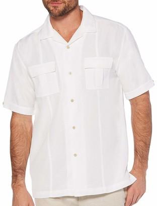 Cubavera Men's Pintuck Camp Collar Short Sleeve Button Down Shirt