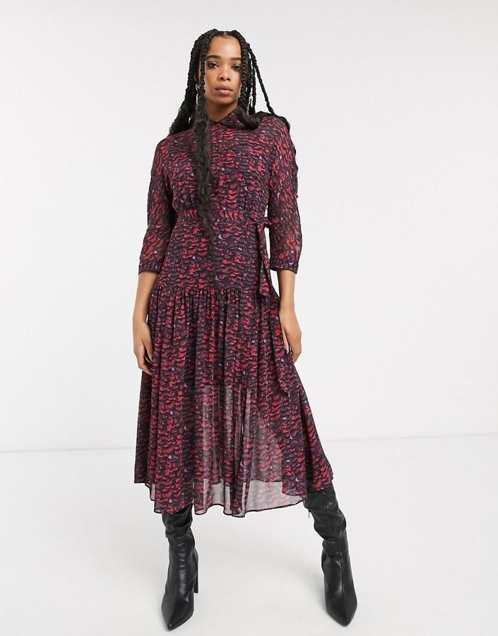 AllSaints eley plume printed maxi shirt dress