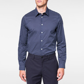 Paul Smith Men's Tailored-Fit Navy And White 'Split Dot' Print Shirt