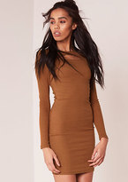 Missy Empire Regina Rust Ribbed Cutout Detail Bodycon Dress