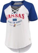 Unbranded Women's Pressbox White/Royal Kansas Jayhawks Plus Size Abbie Criss-Cross Raglan Choker T-Shirt
