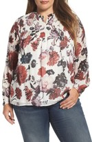 Lucky Brand Plus Size Women's Smock Yoke Floral Top