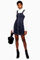 Topshop Indigo Denim Stretch Pinafore Dress
