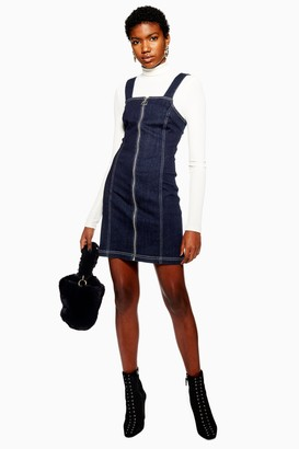 Topshop Indigo Denim Stretch Pinafore Dress
