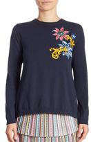 Mary Katrantzou Embroidered Split-Back Cropped Sweater