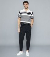 Reiss Cassidy - Striped Zip Neck Polo Shirt in Navy