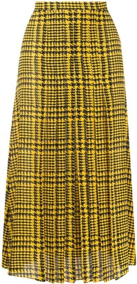 Alessandra Rich Pleated Houndstooth-Print Skirt