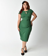 Stop Staring Plus Size 1940s Style Green Fitted Timeless Wiggle Dress