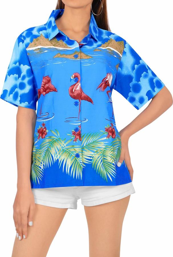 LA LEELA Women's Button Up Relaxed Hawaiian Beach Shirt Flamingo Print Short Sleeves Collared Summer Tops Blue_W941 Medium
