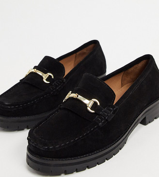 ASOS DESIGN Wide Fit Motivate suede chunky loafers in black