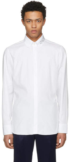 Gucci White Embroidered Collar Shirt