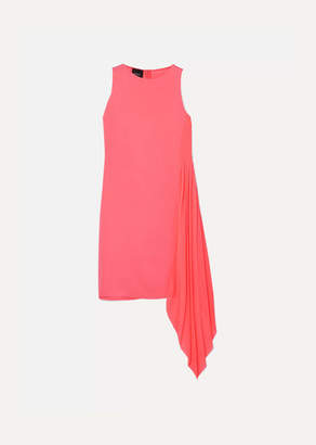 Akris Asymmetric Mulberry Silk Crepe De Chine And Georgette Dress - Pink