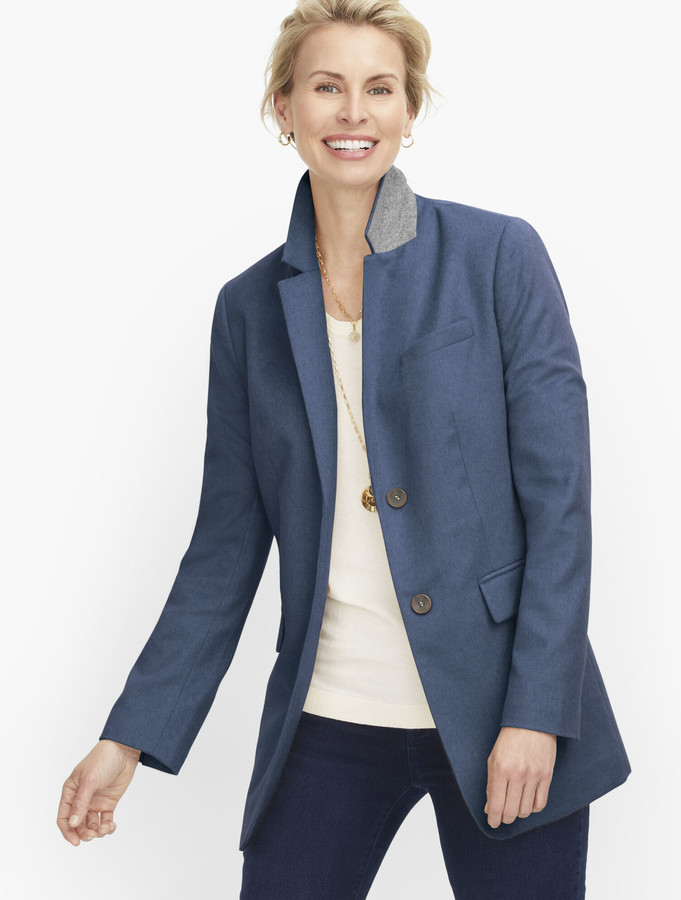 Talbots Long Wool Blend Blazer - Brushed Wool