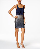 Betsy & Adam Tiered Sequined Sheath Dress
