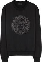 Versace Black Appliquéd-medusa Cotton Sweatshirt