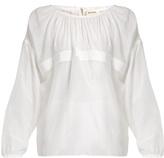 Maison Rabih Kayrouz Grosgrain-trimmed cotton and silk-blend voile top