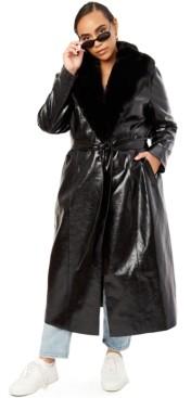 Danielle Bernstein Trendy Plus Size Faux-Fur Long Jacket, Created for Macy's