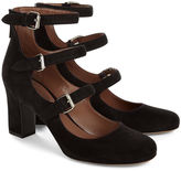 Tabitha Simmons Black Suede Buckled Ginger Heels