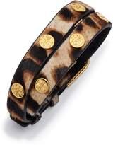 Double-Wrap Leopard Logo Stud Bracelet