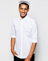 Antony Morato Shirt With Cut Away Collar In Slim Fit - White