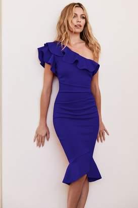 Lipsy Abbey Clancy x Ruffle One Shoulder Flippy Hem Bodycon Dress - 4 - Blue