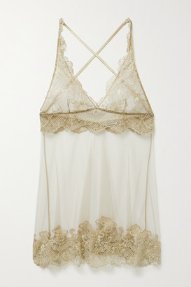 I.D. Sarrieri Satin-trimmed Embroidered Tulle Chemise - Beige