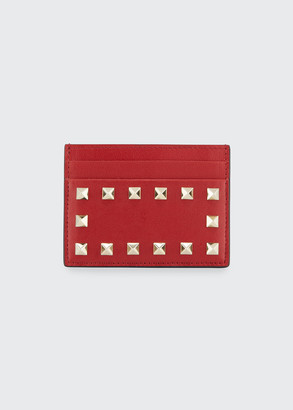 Valentino Studded Leather Thin Card Case