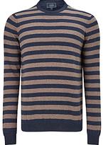 John Lewis Cotton Cashmere Striped Jumper, Navy