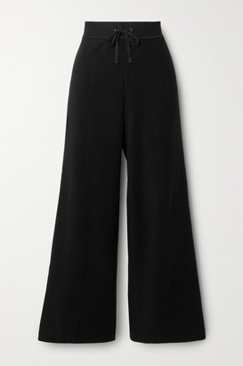 James Perse Brushed Waffle-knit Cotton And Cashmere-blend Wide-leg Pants - Black