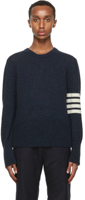 Thom Browne Navy Wool Jersey Knit 4-Bar Sweater