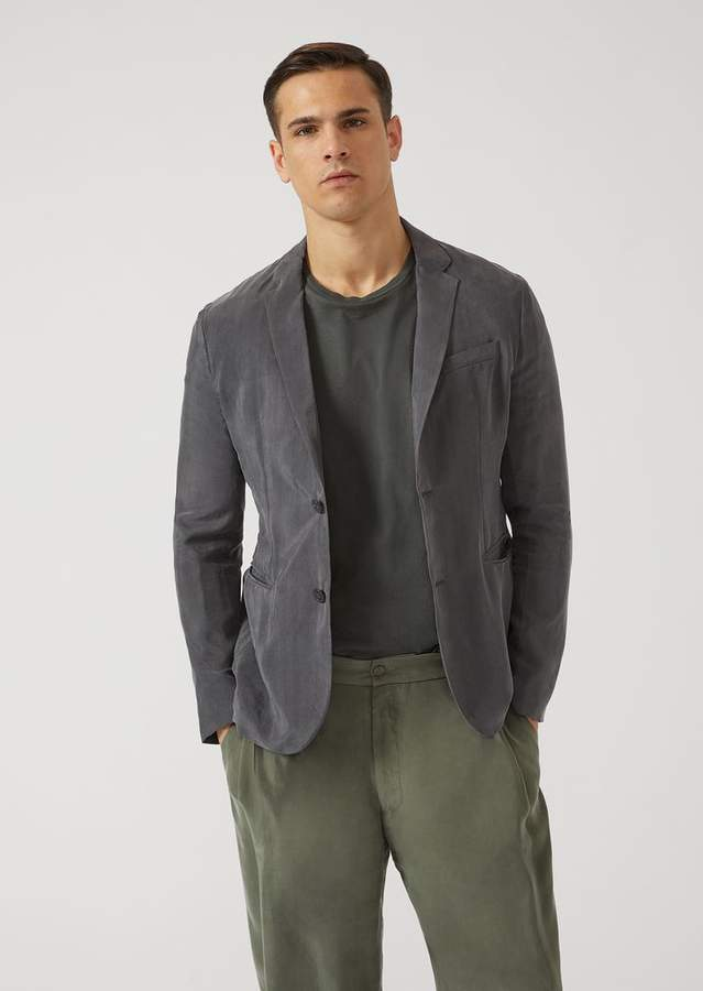 Emporio Armani Single-Breasted Cupro Jacket
