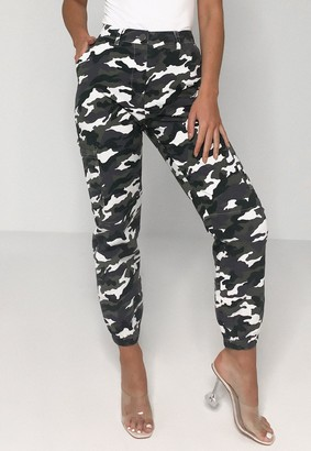 Missguided Petite Grey Camo High Waisted Cargo Trousers