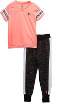 U.S. Polo Assn. Neon Coral & Gray V-Neck Tee & 'USPA' Joggers - Girls