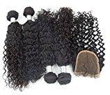 "Echo Beauty Deep Curly 100% Human Hair Weft Extensions 4Bundles+1Closure Real Peruvian Hair Extensions 4Pcs 14""16""18""20'' and 1Pc Closure 12"""