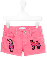 MSGM embroidered animals shorts - kids - Cotton/Spandex/Elastane - 6 yrs