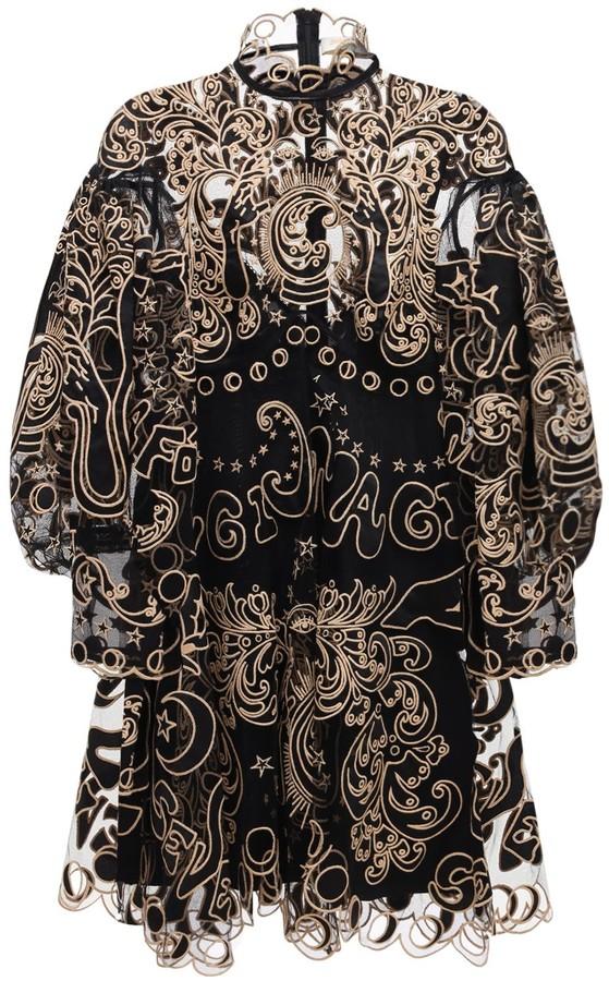 Zimmermann Ladybeetle Silk Embroidered Tulle Dress