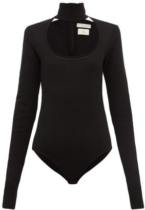 Bottega Veneta Scoop Neck Wool-blend Bodysuit - Black