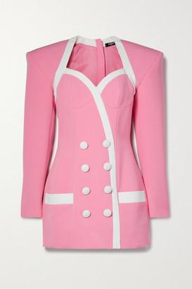 Balmain Button-detailed Two-tone Crepe Mini Dress - Pink