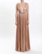J. Mendel Rose Gold Lurex Georgette Hand Pleated V-Neck Gown
