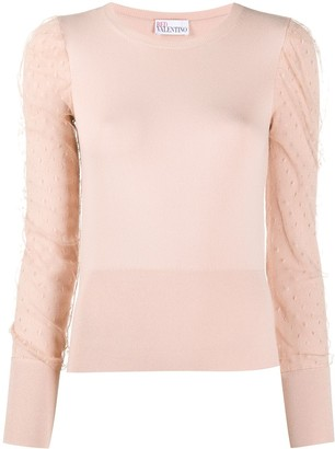 RED Valentino Puff Sleeve Knitted Top