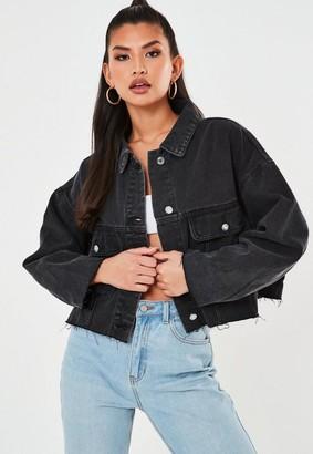 Missguided Black Pleat Back Oversized 80S Denim Jacket