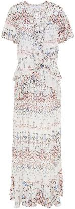 IRO Planty Ruffled Printed Crepe Maxi Dress