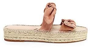 Loeffler Randall Women's Daisy Bow Suede Espadrille Slides Sandals