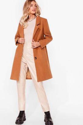Nasty Gal Womens Love Will Faux Wool Find Away Longline Coat - Camel