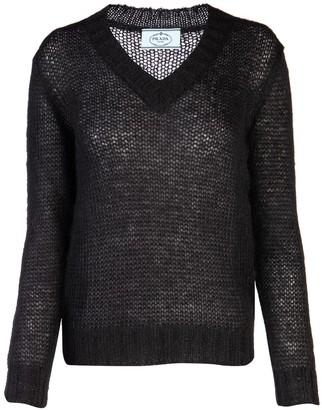 Prada Knitted V-Neck Jumper