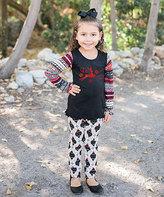 Beary Basics Red Reindeer Tunic & White Ornament Leggings - Toddler & Girls