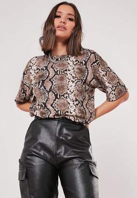 Missguided Brown Snake Print Oversized T Shirt